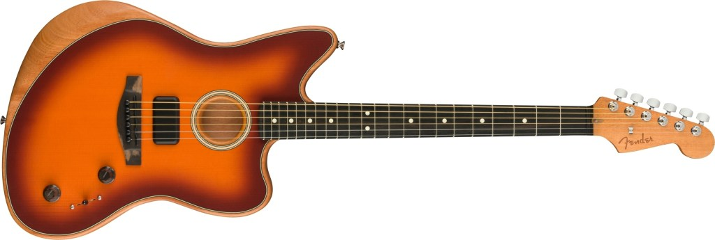 Photo of Fender Acoustasonic Jazzmaster acoustic-electric guitar in a sunburst finish on a white background