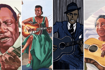four portrait illustrations in a side-by-side grid depicting Booker White, Memphis Minnie, Robert Johnson, and Elizabeth Cotten all playing acoustic guitars