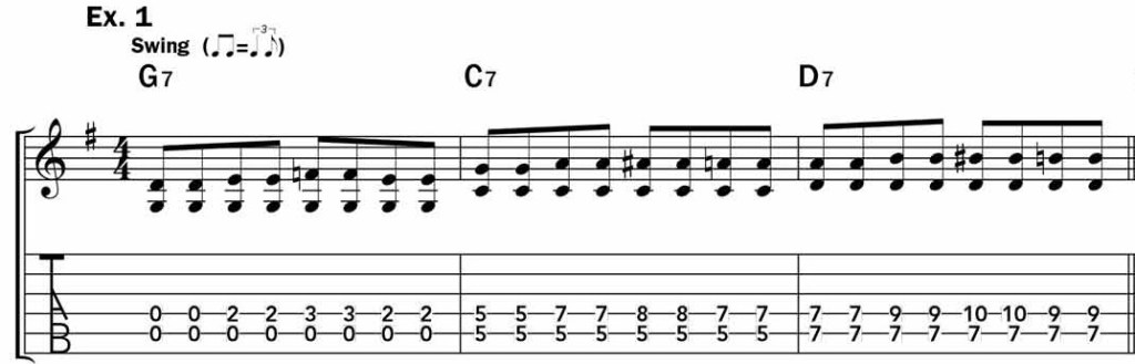 Musical example one showing the G - C - D7 chord progression in both standard notation and TAB