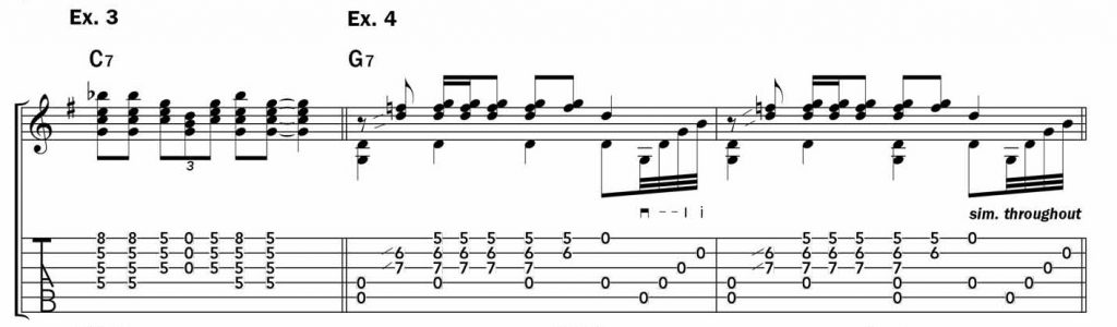 """Musical examples 3 and 4 showing a cool riff in open g that is similar to """"Terraplane Blues"""""""