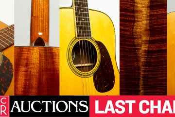 """Gallery of guitars up for auction with the text """"Acoustic Guitar Auctions Last Chance!"""""""