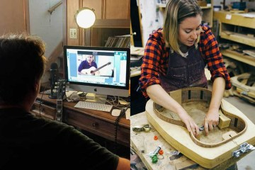 online acoustic guitar lesson on left, woman making a guitar in woodshop on right