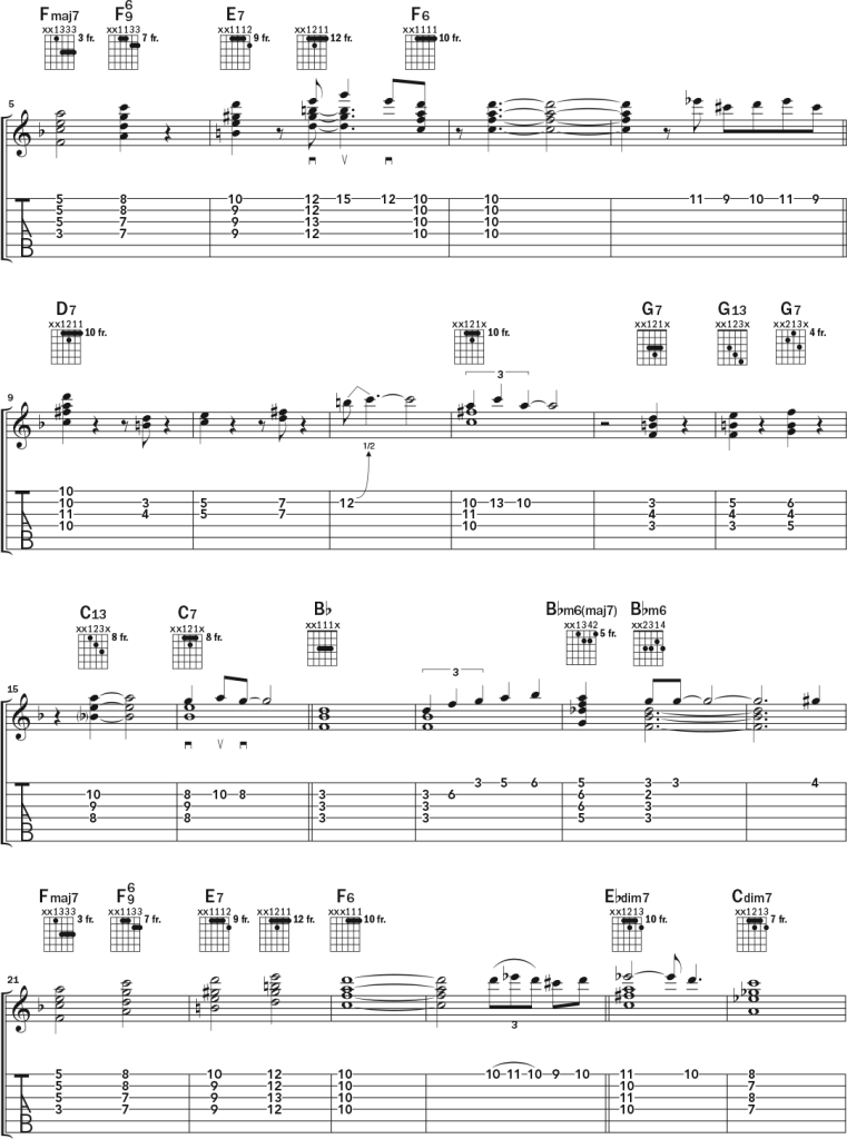 Acoustic guitar chord-melody lesson music notation page 3