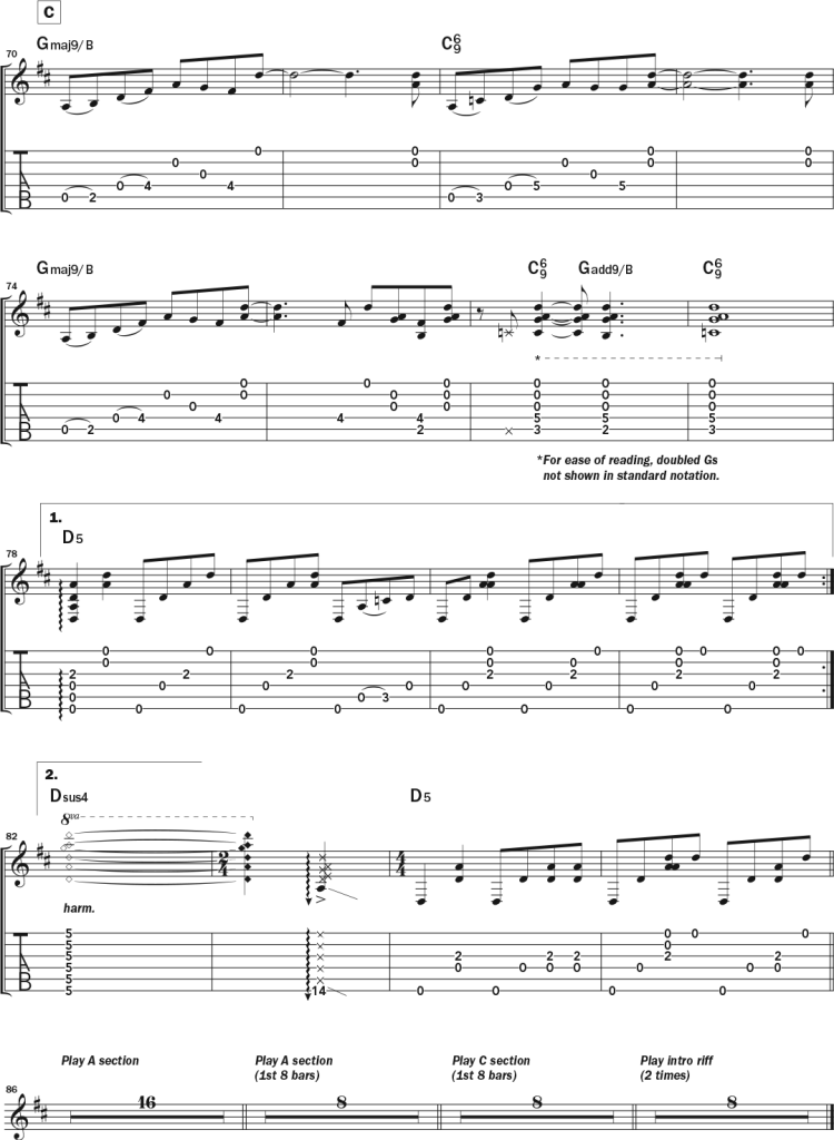 """Third page of musical notation and tablature for Bob Minner's solo acoustic guitar piece """"VanWart,"""" a tribute to Collings Guitars' master luthier Bruce VanWart in DADGAD tuning."""