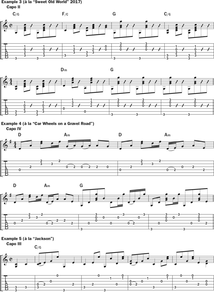Lucinda Williams examples 3, 4, and 5 -  musical notation and tab in the style of Sweet Old World, Car Wheels on a Gravel Road, and Jackson