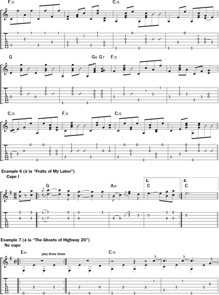 Lucinda Williams examples 5 (continued), 6, and 7 -  musical notation and tab in the style of  Jackson, Fruits of My Labor, and The Ghosts of Highway 20