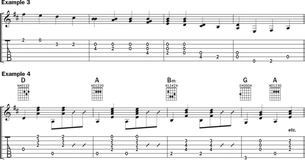 "Julian Lage and Chris Eldridge's arrangement of the traditional guitar duet ""Old Grimes"" music notation exs. 3-4"