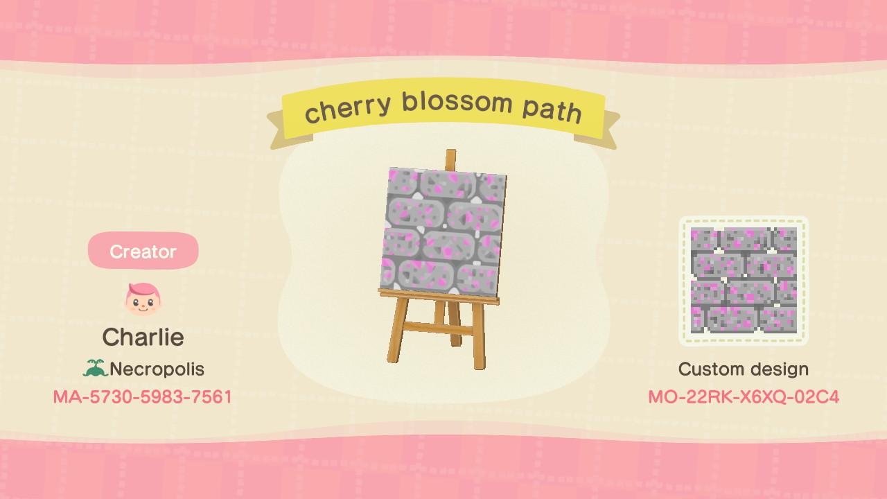 Cherry Blossom Path Animal Crossing Pattern Gallery Custom Designs