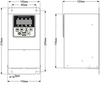 Габаритные размеры преобразователей CFM210 1.1 и 1.5кВт.