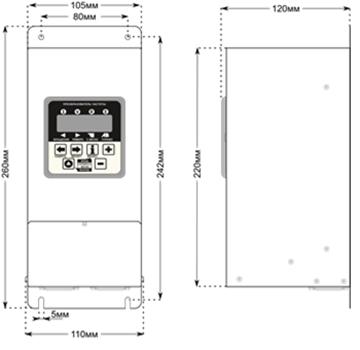 Габаритные размеры преобразователей CFM210 2.2 и 3.3кВт.