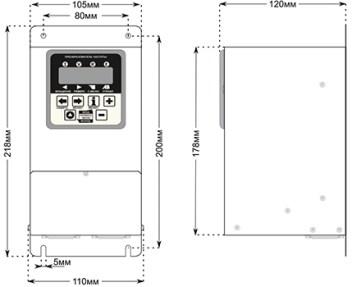 Габаритные размеры преобразователей CFM310 1.1 и 1.5кВт.