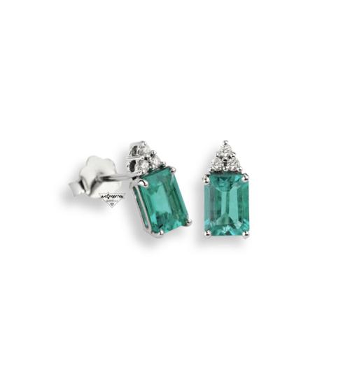 Orecchini Oro Diamanti E Smeraldo Quadrati - Namuri - OR-8637/SM