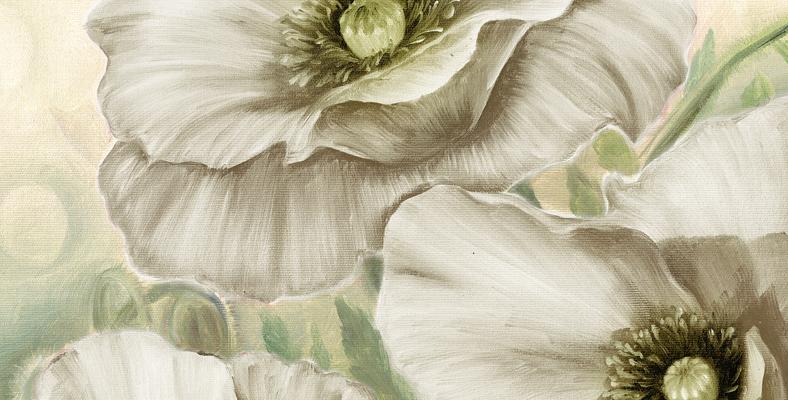quadro moderno con fiori papaveri bianchi dipinto floreale montmartre