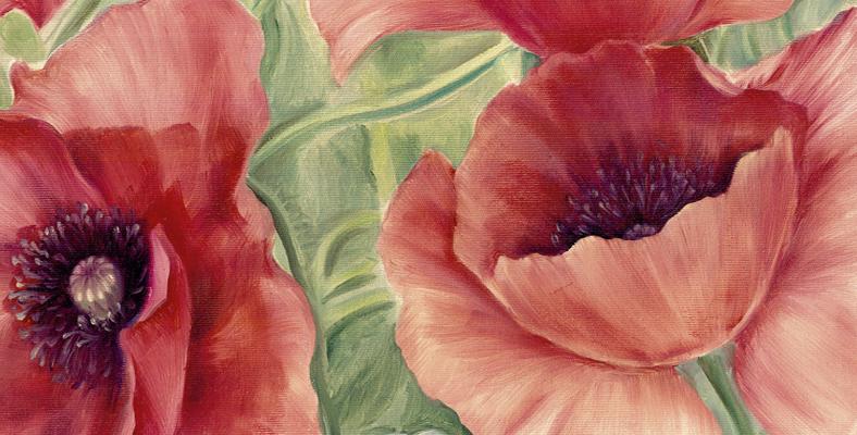 quadro con fiori papaveri rossi floreale dipinto tela montmartre