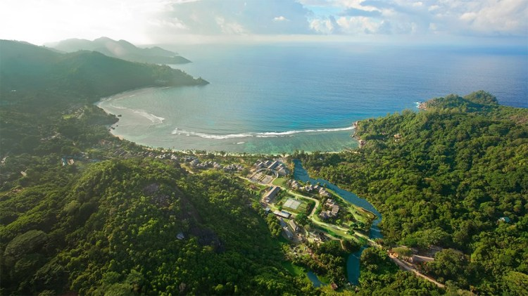 Aerial view of the Kempinski Seychelles Resort in Baie Lazare,Mahe, The Seychelles