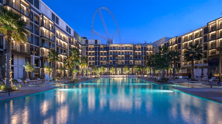 Caesars Resort Bluewaters Dubai view from one of its pools