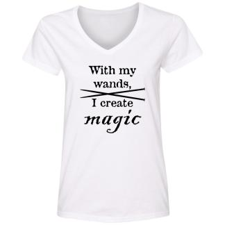 Knitting needles magic wands V-Neck T-Shirt