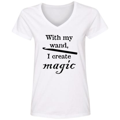 Crochet hook magic wand V-Neck T-Shirt