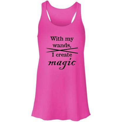 Knitting needles magic wands flowy racerback tank
