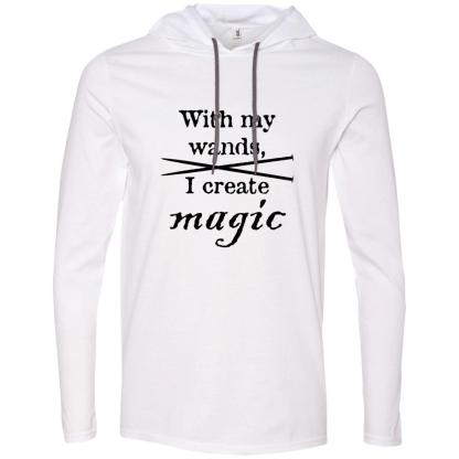Knitting needles magic wands long sleeve T-Shirt hoodie