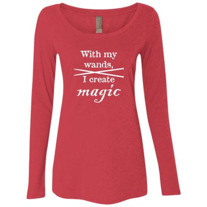 Knitting needles magic wands triblend long sleeve scoop t-shirt