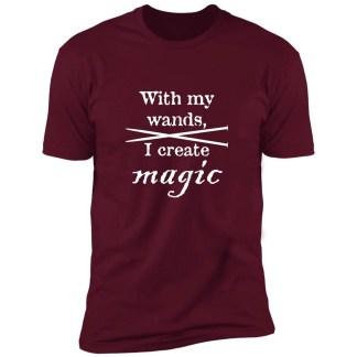 Knitting needles magic wands premium t-shirt