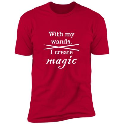 Knitting needles magic wands premium t-shirt