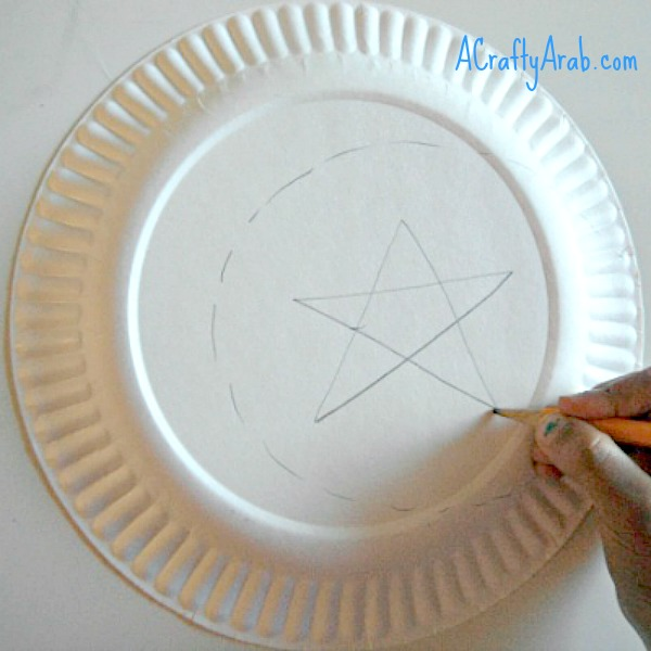 Cut out your moon shape. : paper plate moon - pezcame.com