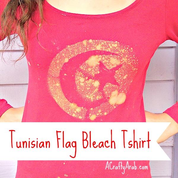 ACraftyArab Tunisian Flag Bleach Tshirt