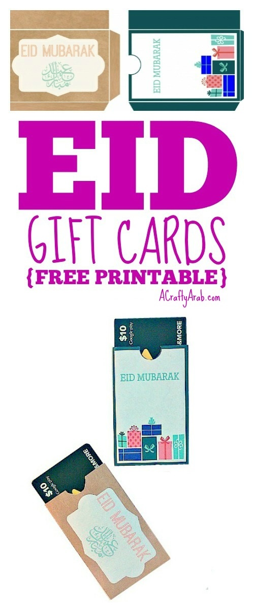 photograph regarding Eid Cards Printable called Eid Reward Playing cards Printable via A Cunning Arab