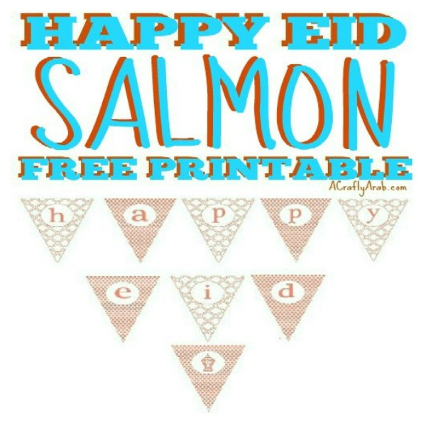 picture about Happy Holidays Banner Printable named Satisfied Eid Salmon Banner Printable through A Cunning Arab