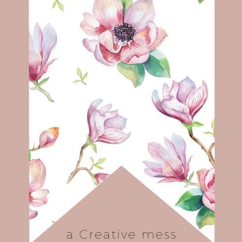 Watercolor Magnolia Bunting Free Printable