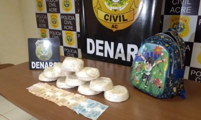 Polícia apreendeu quase 10 quilos de cocaína, nesta quinta-feira (2), em rodovia no Acre — Foto: Lidson Almeida/Arquivo pessoal