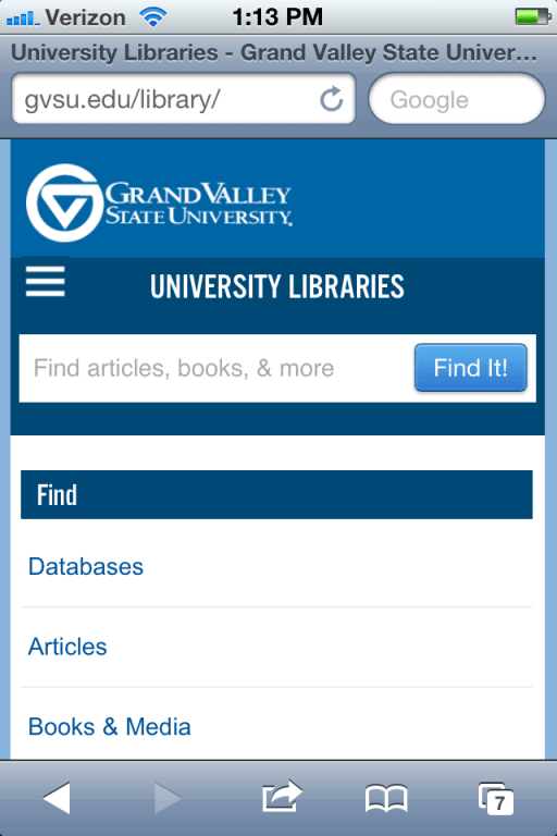 Grand Valley State University Libraries website via iphone