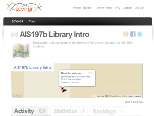 trek page for ais197b at ua libraries