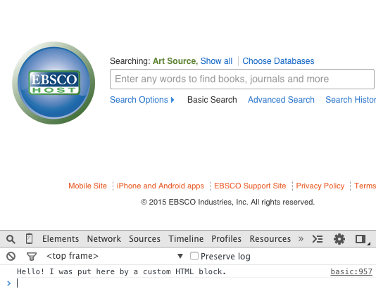 customized EBSCO database