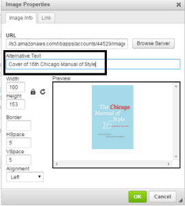 The LibGuides image upload dialogue menu, with a black box highlighting the input field for alternative text.