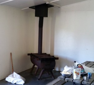 Wood Stove at Miquelon Lake Group Site