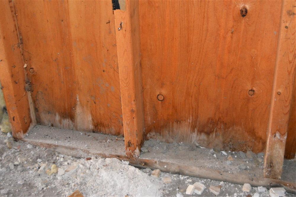 Mild water damage to garage wall