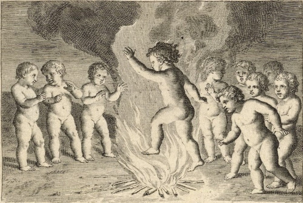 vintage drawing of kids playing around a fire