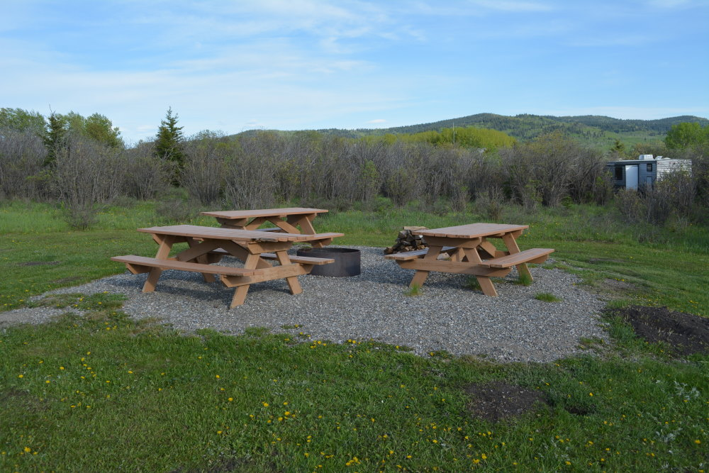 communal fire pit surrounded by picnic tables