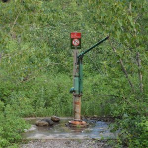 green water hand pump
