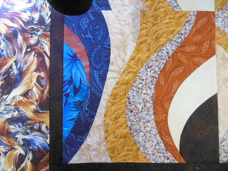 Acropatch-Panneau-mural-Motif-Quilting-TEMPETE-fil-dégradé-bleu-bloc avant le matelassage