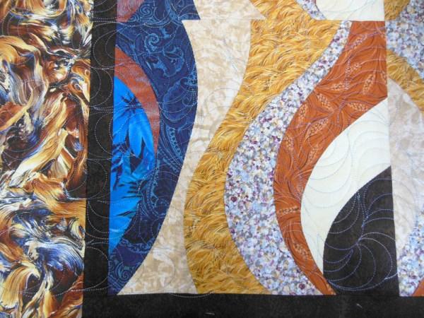 Acropatch-Panneau-mural-Motif-Quilting-TEMPETE-fil-dégradé-bleu-bloc après le matelassage