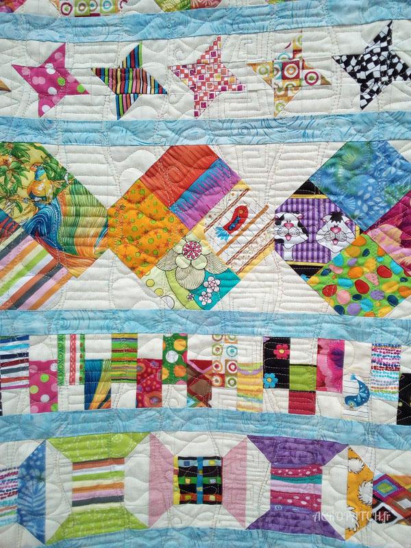 Acropatch-Plaid-Zébulon-Motif-Quilting-Medley-fil-multicolore pastel-détails des blocs et du matelassage