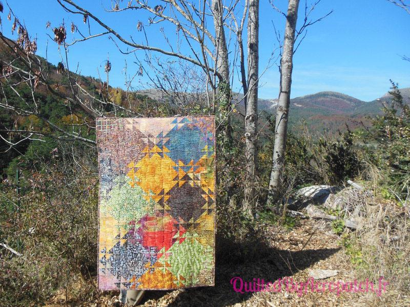 Acropatch-Panneau-mural-Shimmer quilt-Couleurs d'automne-Motif-Quilting-Montagnes russes-fil-uni-orange foncé