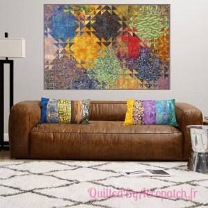 Acropatch-Panneau-mural-Shimmer quilt-Couleurs d'automne-Motif-Quilting-Montagnes russes-fil-uni-orange foncé-avec coussin assortis