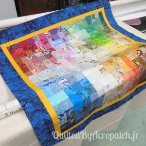 Panneau-mural-Watercolor-Motif-Quilting-Farandole-fil-uni-bleu moyen-avant le matelassage