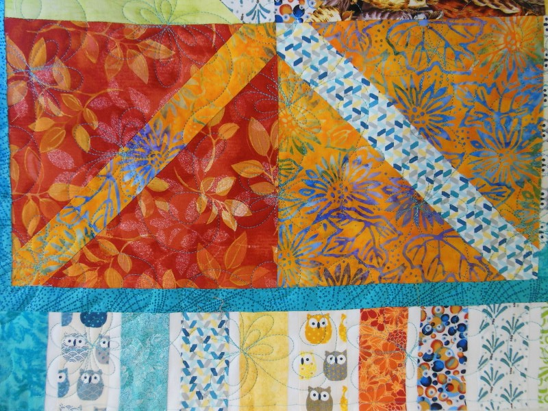 """Plaid-""""Diagonales""""-Motif-Quilting-DAISY-fil-uni-bleu-après le quiltage"""