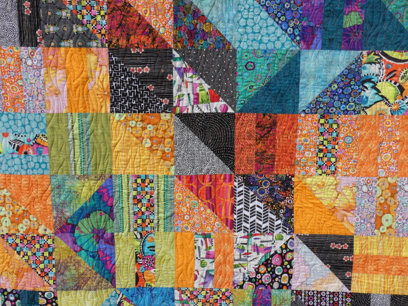 "Plaid-""Border line""-Motif-Quilting-VAGUE-fil-uni-orange-détails"